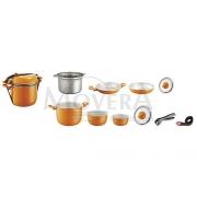 Κατσαρόλες set 9+1 από αλουμίνιο πορτοκαλί