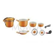 Κατσαρόλες set 7+1 από αλουμίνιο πορτοκαλί