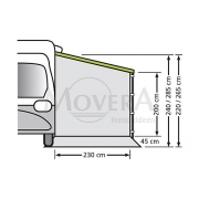 Universal Πλαϊνός τοίχος για Τροχόσπιτα και Αυτοκινούμενα με άνοιγμα 250cm χωρίς παράθυρο, Version 240