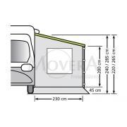 Universal Πλαϊνός τοίχος για Τροχόσπιτα και Αυτοκινούμενα με άνοιγμα 250cm με παράθυρο, Version 240